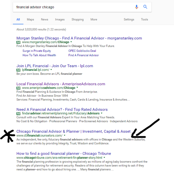 search results for financial advisor - looking at financial advisor seo