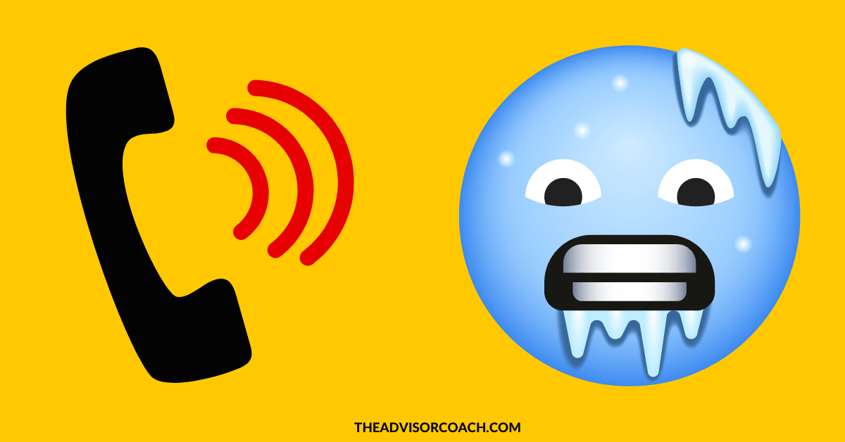 Phone and cold emoji to represent cold calls as a financial advisor prospecting strategy