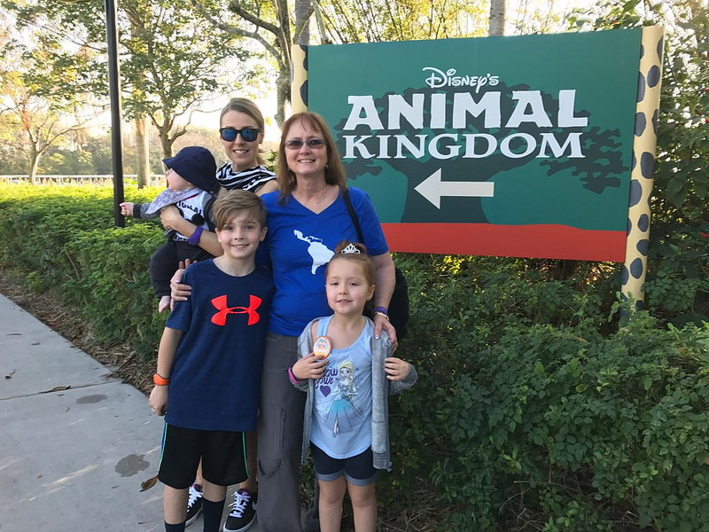 Family at Disney World's Magic Kingdom - no 2 year olds or 3 year olds in this picture
