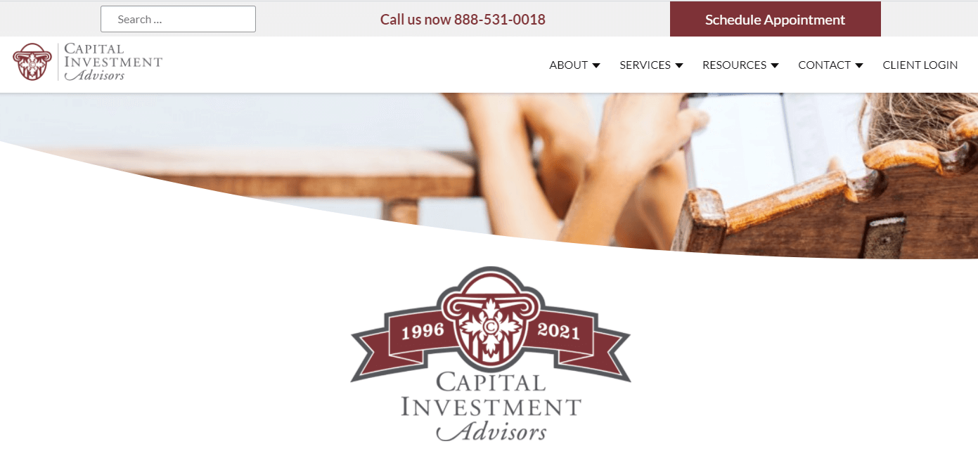This financial advisor website has clear contact information