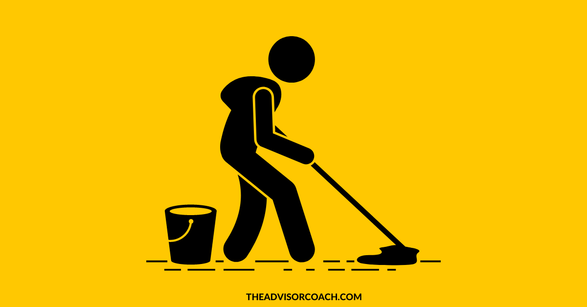 Mop used to scrub floors like an insurance email marketing list should be scrubbed