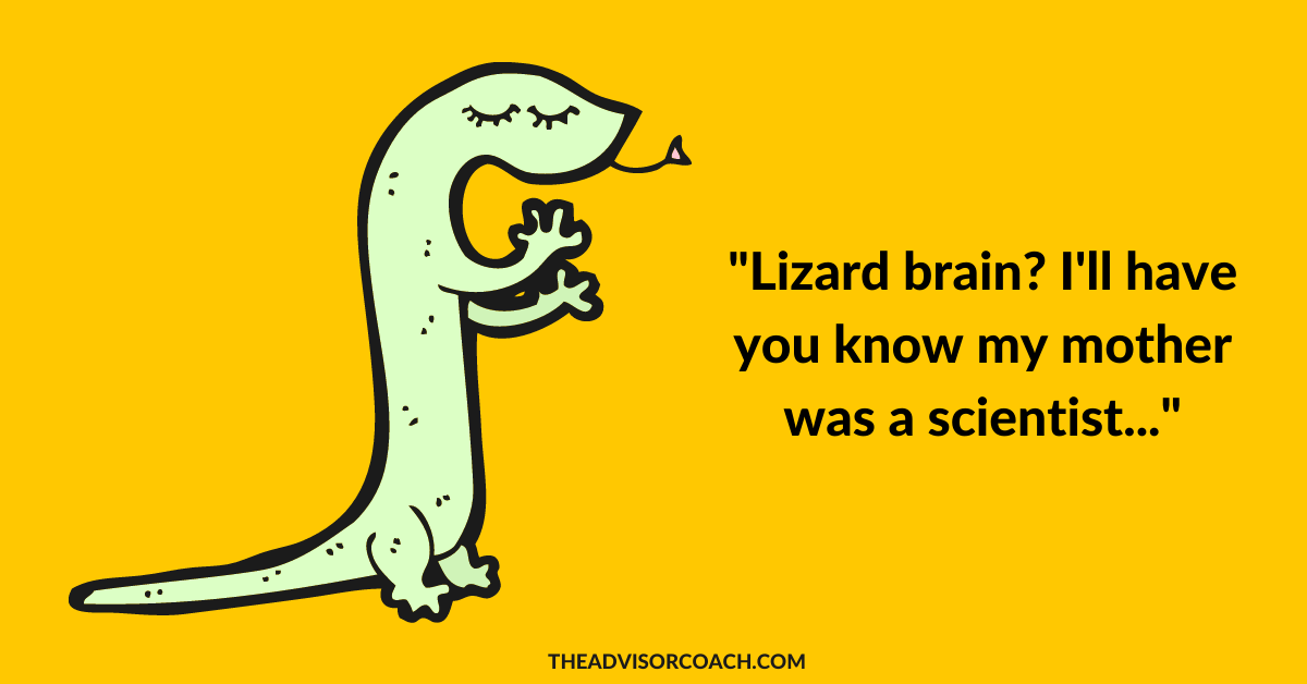 A lizard because your lizard brain is what gives you your fear of rejection