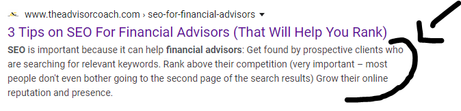 Example of a meta description, which can be used for financial advisor seo