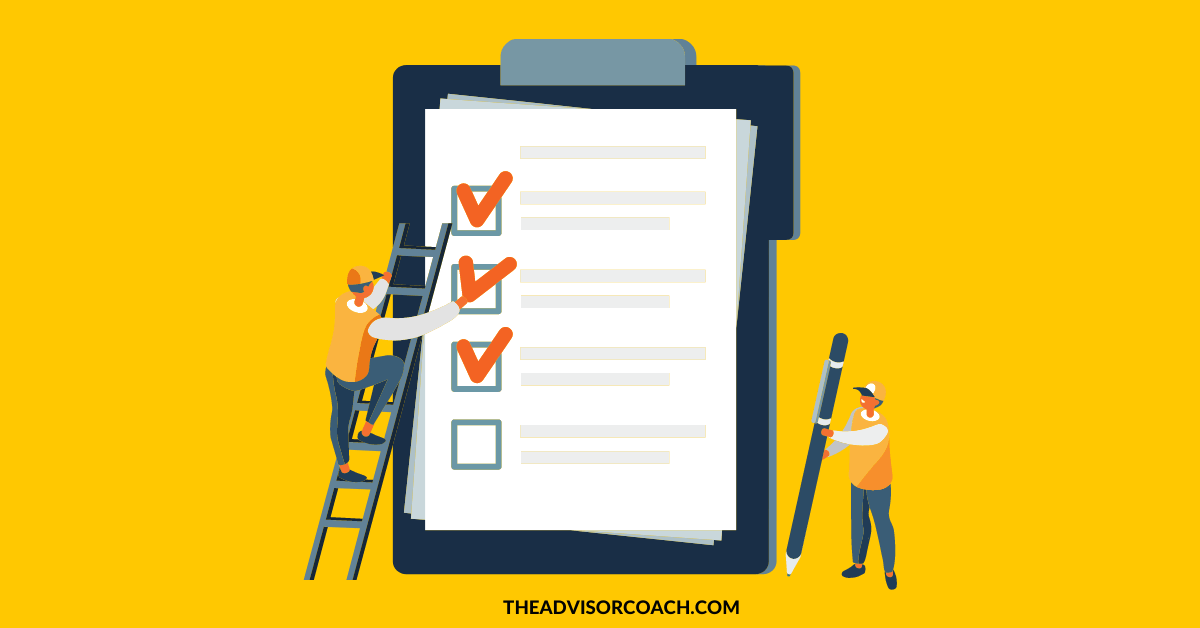 A checklist - because I'm talking about an onboarding checklist for financial advisors