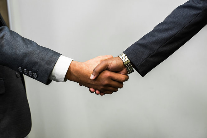Two people shaking hands - happy after reading the pros and cons of being a financial advisor