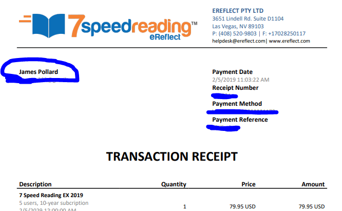 My 7 Speed Reading receipt - proof of purchase in my 7 Speed Reading review