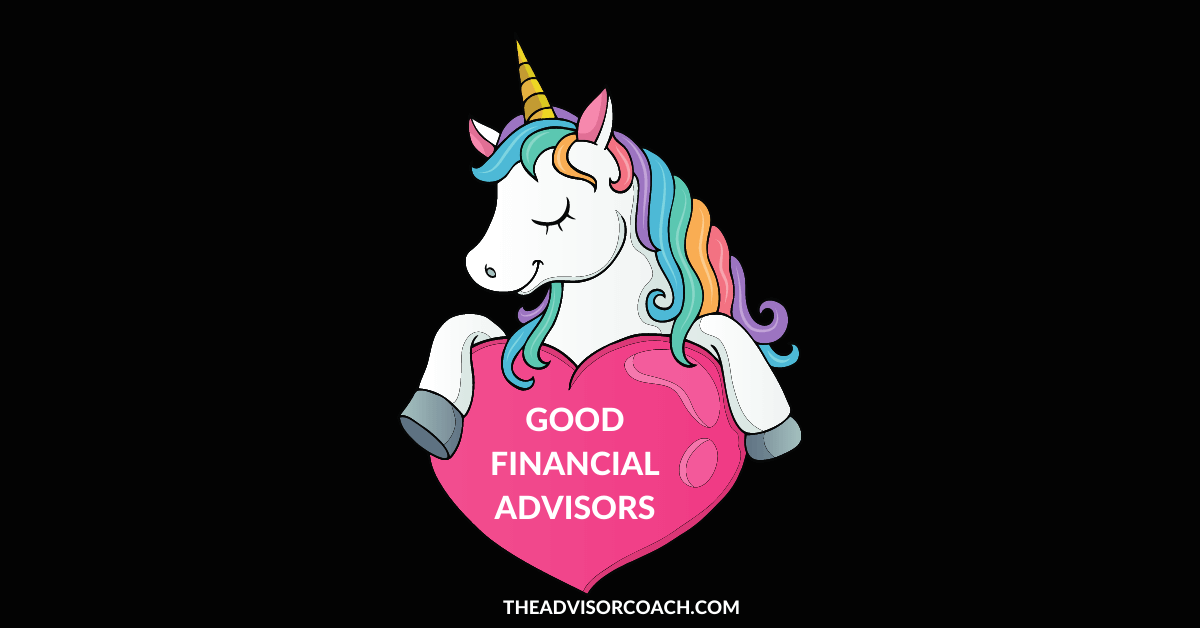Unicorn holding a sign that says people want good financial advisors