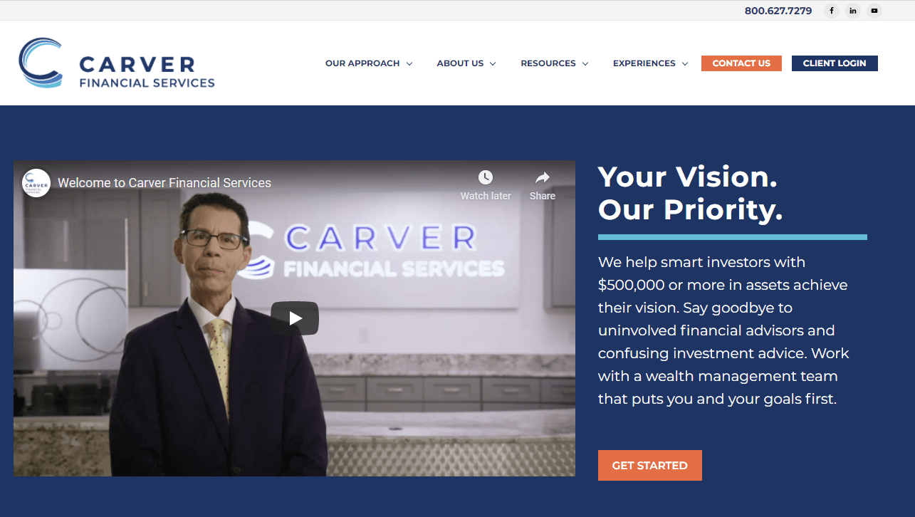 An example of a financial advisor website with video on the homepage